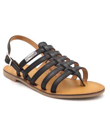 Sandale cuir Les Tropéziennes par M Belarbi Herilo noir, spartiate pour femmes