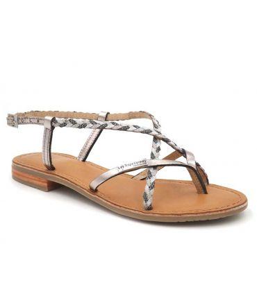 Les Tropéziennes Monatres étain, sandale pour femmes en cuir