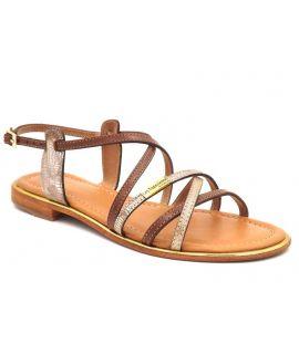Sandale Les Tropeziennes par M Belarbi Harry tan et or pour femmes