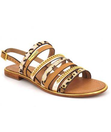 Les Tropéziennes par M Belarbi Haniac beige leopard, sandale cuir pour femmes
