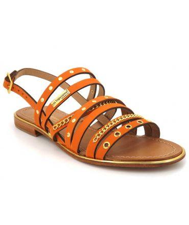 Les Tropéziennes par M Belarbi Haniac orange, sandale cuir pour femmes