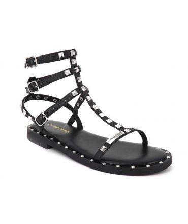 Spartiate Cassie noire Les Tropéziennes par M Belarbi, sandale à clous