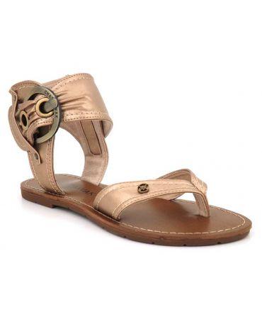 Chattawak Thalie or, sandale femmes avec entre doigt + grosse boucle à la cheville