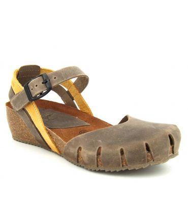 Sandale Inter Bios 5355 beige et jaune, compensé confort pour femmes