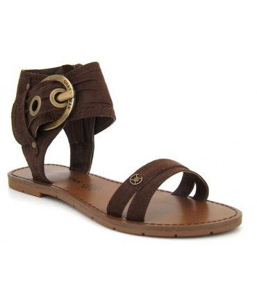 Sandale plate Chattawak Pacome marron pour femmes