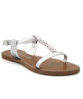 Sandale plate Petunia argent Chattawak pour femmes