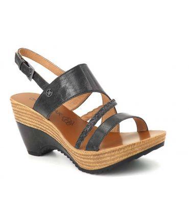Chattawak Juliette noire, sandale à talon compensé pour femmes