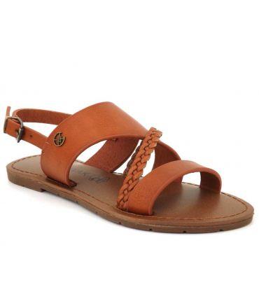 Chattawak Phibby camel, sandale mode brides tressées pour femmes