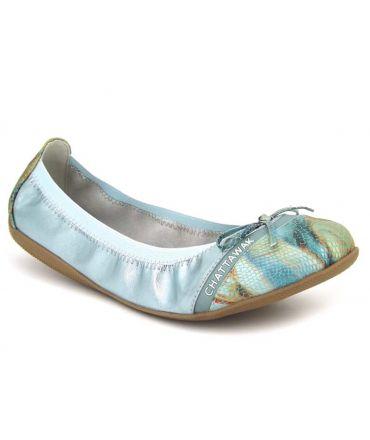 Ballerine Chattawak Caprice métal bleu, nouveauté chaussures femmes