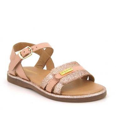 Les Tropéziennes Iria rose sandales fillettes en cuir