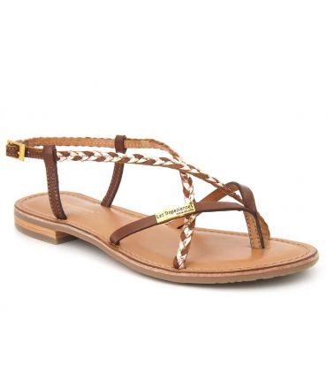 Les Tropéziennes Monatres Tan et or, sandale pour femmes en cuir