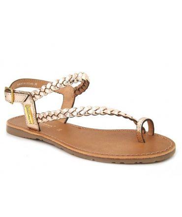 Les Tropéziennes par M Belarbi sandale cuir tressé Hidea or