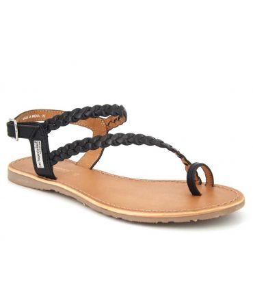 Passe orteil Les Tropéziennes par M Belarbi sandale cuir tressé Hidea noire