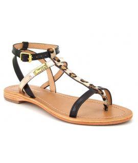 Sandales Les Tropéziennes Baie noir léopard, nu pieds pour femmes