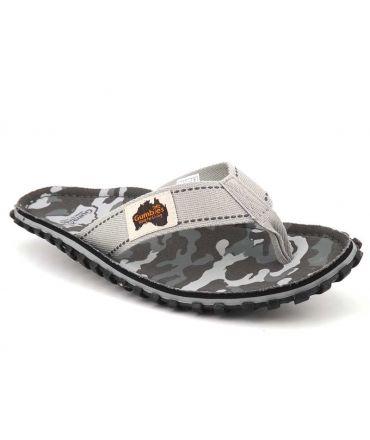 Tong Gumbies Islander Grey Camouflage, semelle préformée pour hommes