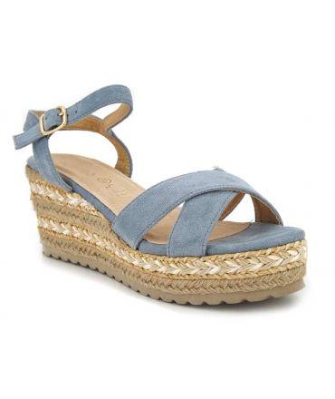 Sandale Playa Michelle bleu, compensé brides croisées talon enrobé cordes et raphia.