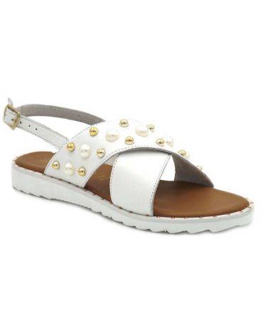 Lola Espeleta Brigite blanc nacré, sandale à clous et perles de nacre pour femmes