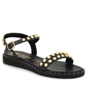Sandale Lola Espeleta Billie noire, nu pieds clous dorés