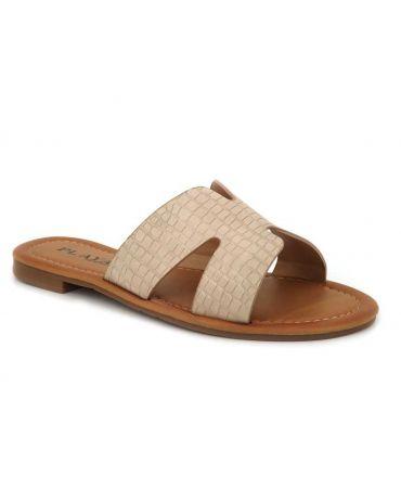 Mules Playa Kimmy beige, claquette femmes pas chers aspect crocodile