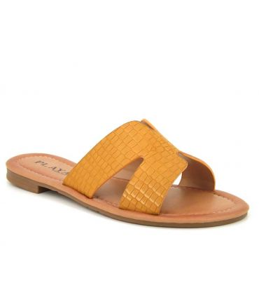 Claquette Playa collection Kimmy jaune, simili croco et dessus tige en forme de H