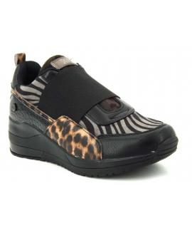 Baskets xti 44527 multi léopard et zèbre, nouveauté sneakers femmes