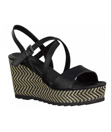 Sandale Marco Tozzi 28371-26 noire, compensé mode pour femmes