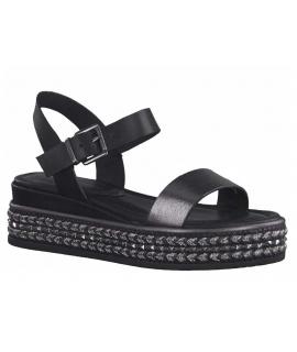 Marco Tozzi sandale plateforme 28702-26 noire, nus-pieds décor cordes et clous