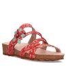 Mule cuir Laura Vita Brcyano 51 rouge, nus-pieds compensé pour femmes