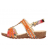 Laura Vita Brcyano 53 orange, sandales en cuir réglage par 3 velcros pour femmes