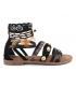 Sandale ethnique Métamorfose Jairo noir, nu-pieds plumes et perles