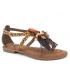 Métamorfose Jaland léopard, sandale fantaisie avec froufrous style ethnique.