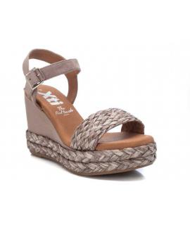 Sandale Xti 42255 taupe, compensé avec raphia tressé