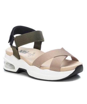 Xti 42751 beige, sandale de marche brides croisées fermeture velcro