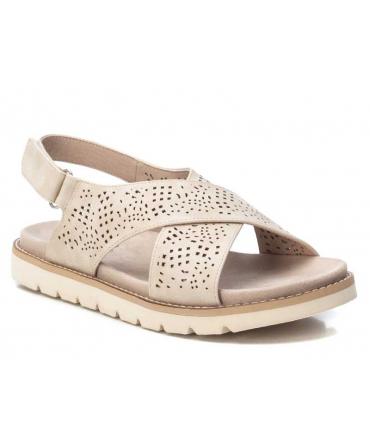 Sandale plate Xti 42672 beige, semelle confort bride croisée