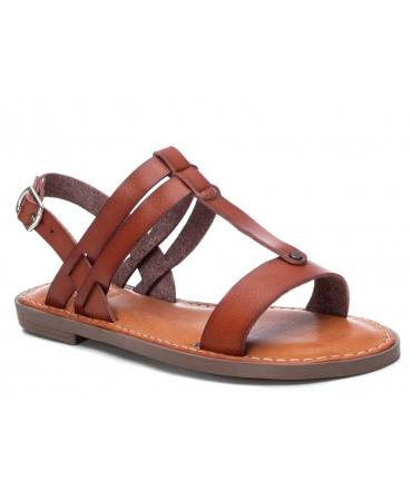 Nu-pieds plat XTI 44162 camel, sandale bride salomé pour femmes