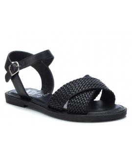 Xti 42757 noire, sandale plate brides croisées tressées pour femmes