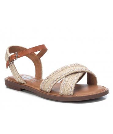 Xti 42736 beige, sandale plate brides croisées avec cordes pour femmes.