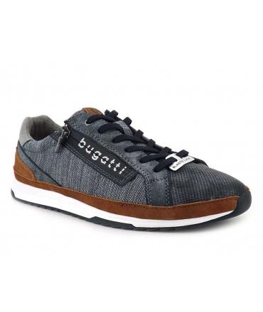 Sneakers Bugatti Riptide bleu, baskets semelle gel fermeture zip + lacets élastiques pour hommes