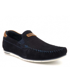 Mocassin Bugatti Chesley marine, chaussures cuir confort pour hommes