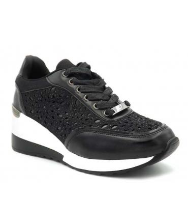 Menbur Canalaccia noir, baskets talon compensée pour femmes