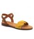 Eva Frutos 9139 jaune, sandale plate en cuir souple aspect nubuck.