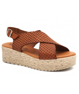 Eva Frutos 714 Grabado marron | Sandale plateforme aspect cuir tressé semelle gel confort