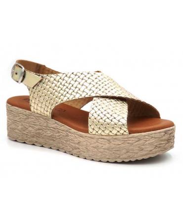 Compensé Eva Frutos 714 Grabado platine   Sandale plateforme semelle gel confortable et légère