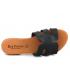 Mule Eva Frutos 9176 noir, claquettes confortables en cuir aspect croco