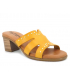 Eva Frutos 1404 jaune, mules petit talon en cuir confort