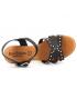 Nu-pieds Eva Frutos 1402 noire | Sandale petit talon tige cloutée