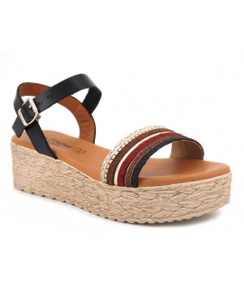 Eva Frutos 794 noire multi | Sandale plateforme hyper confortable