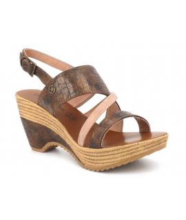 Nu-pieds Chattawak Juliette bronze, sandale à talon compensée pour femmes