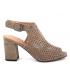Sandale talon Chattawak Deborah taupe, tige perforée