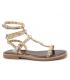 Les Tropéziennes par M Belarbi Corol beige, sandale plate avec clous pyramidaux dorés